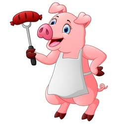 cartoon chef pig vector image
