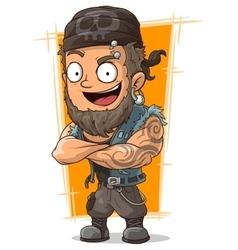 Cartoon muscular biker in bandanna vector