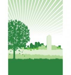 Cityscape meadow vector