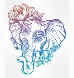Decorative elephant with tribal ornament flowers vector