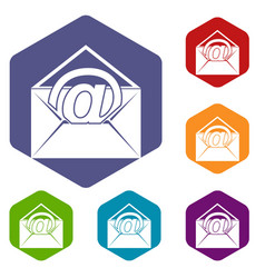 Envelope with email sign icons set hexagon vector