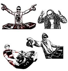 Four disc jockeys vector