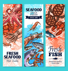 Fresh fish and seafood sketch banner set vector