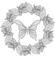 Hand drawn zentangle butterfly in wreath of vector