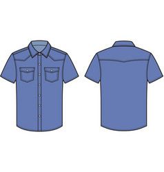 Jean shirt front and back vector