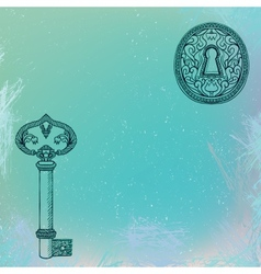 Key and keyhole grunge background vector