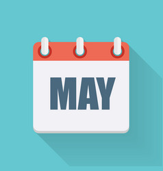 May Dates Flat Icon with Long Shadow vector image