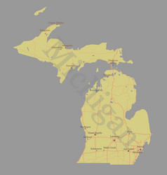 Michigan detailed exact detailed state map vector