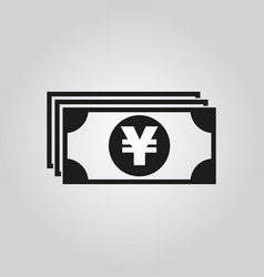 Money icon yen and cash coin currency bank vector