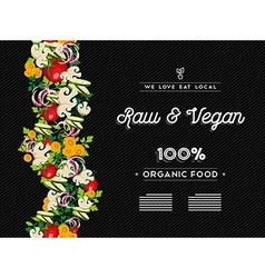 Raw vegan food menu template with vegetables vector image vector image