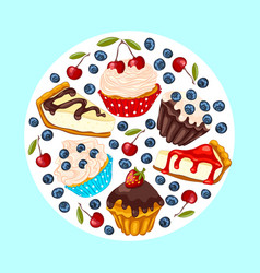 Set of sweet dessert vector