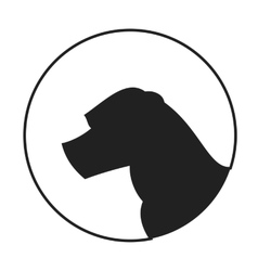 Silhouette of a dog head american staffordshire vector image vector image