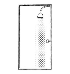 Sketch silhouette of bathroom with the shower open vector