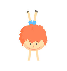 Smiling cartoon redhead boy standing upside down vector