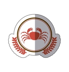 sticker circular border with crown branch with vector image vector image