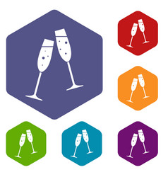 two glasses of champagne icons set vector image