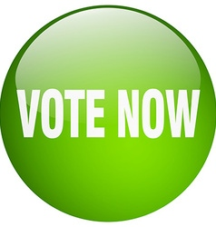 Vote now green round gel isolated push button vector