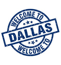 Welcome to dallas blue stamp vector
