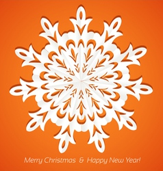 Applique snowflake christmas card on juicy orange vector