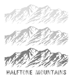 Halftone mountain range set vector