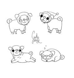 Cute Pugs Pet clothes vector image