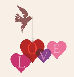 Love message card with dove vector