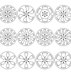 Car alloy wheels vector