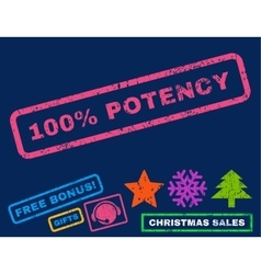 100 percent potency rubber stamp vector