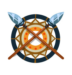 Decorative item with crossed spears native vector