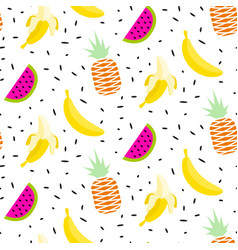 Summer fruit pattern with bananas pineapples and vector