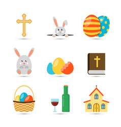 Easter flat icons vector