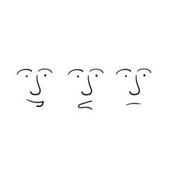 set of three facial expressions vector image