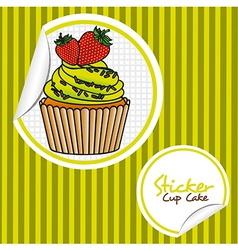 Strawberry cupcake cartoon sticker over background vector