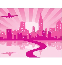 Pink city vector