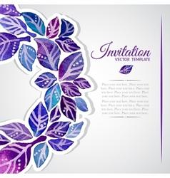 Elegant invitation template with watercolor wreath vector