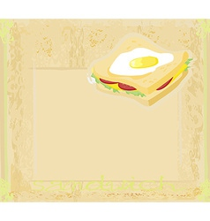 Horizontal grunge background with sandwich vector