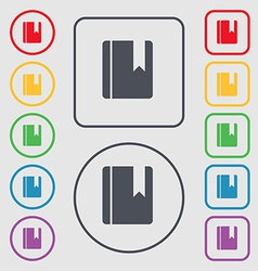 Book bookmark icon sign symbol on the round and vector