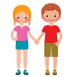 Friends of boy and girl isolated on white vector