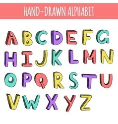Hand drawn colorful english alphabet vector