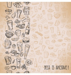 Sketchy beer and snacks vector