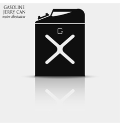 Gasoline jerry can icon with reflection vector