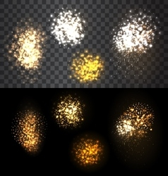 Festive set firework bursting various shapes vector