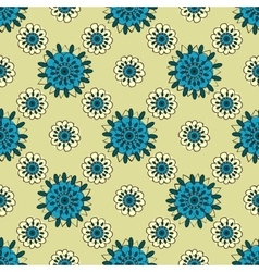 Natural turquoise flowers abstract seamless vector