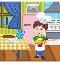 Boy chef preparing lunch vector