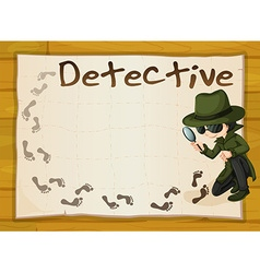 Frame design with detective and footprints vector image