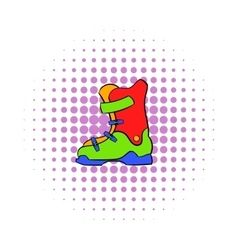 Boot for snowboarding icon comics style vector