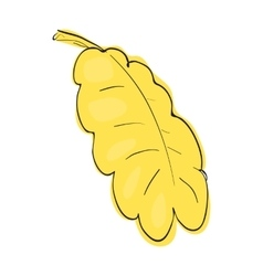 Yellow oak leaf icon cartoon style vector image