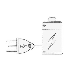 Battery rechargeable with plug vector