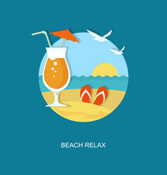 beach relax flat banner with cocktail vector image vector image
