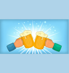 Beer cheers clink horizontal banner cartoon style vector